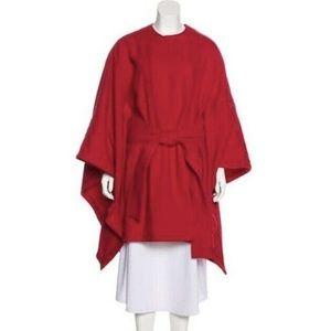 Rachel Zoe Red Tie Waist Belt Cape Poncho Coat